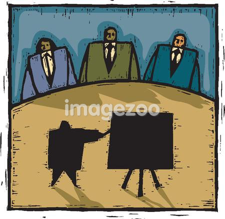 A man giving a big presentation to a panel of three