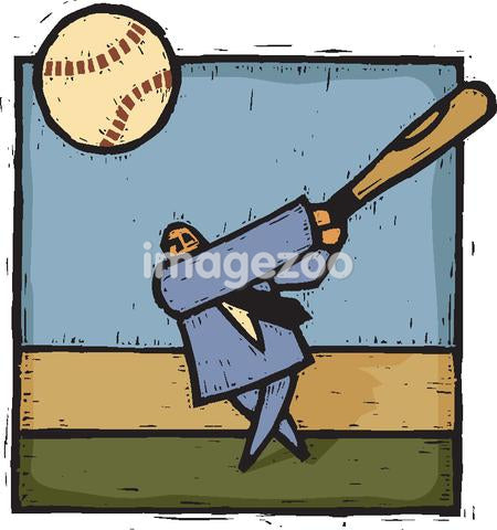 A man hitting a homerun in business baseball