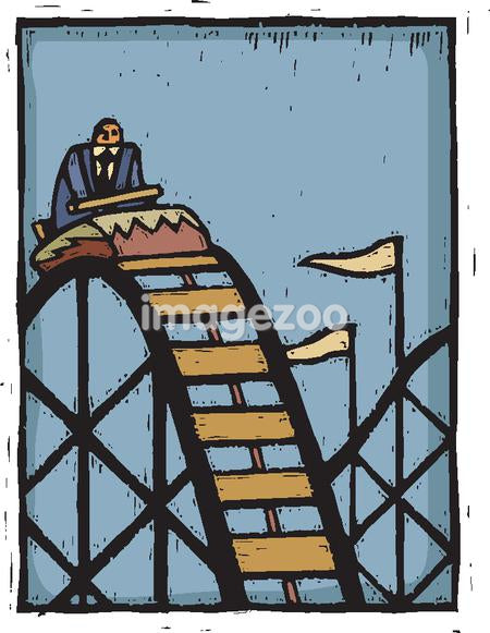 A businessman riding on roller coaster