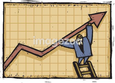 A man holding up arrow on graph