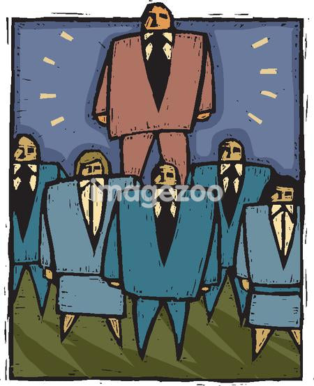 An illustration of a team businessmen and businesswomen in front of their leader