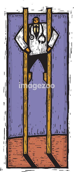A doctor standing on stilts