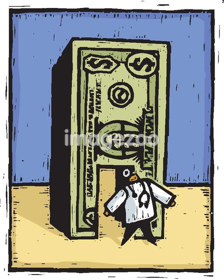 A doctor walking through a door made of money