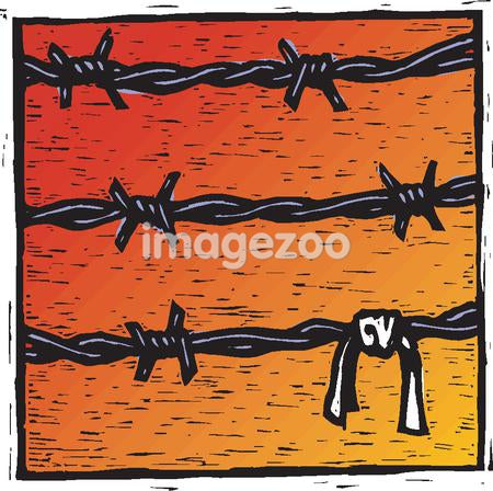 A drawing of barbed wire