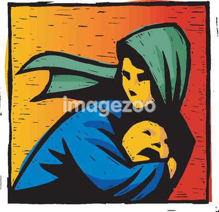An illustration of refugee and her child