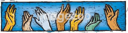 A drawing of waving hands