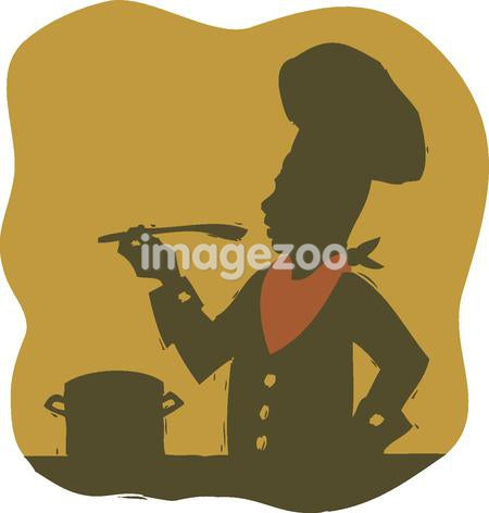 Silhouette of a chef tasting his food with a wooden spoon