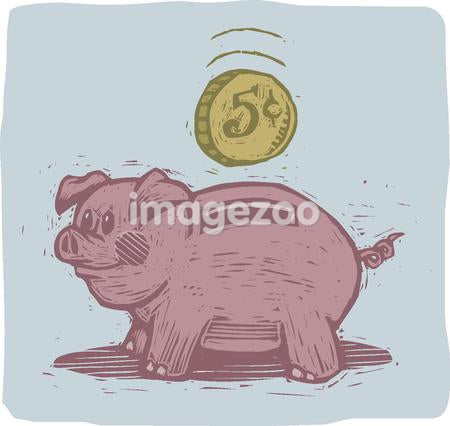 Side view of a piggy bank and coin