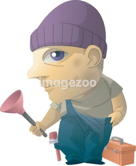 Portrait of a plumber with his tools