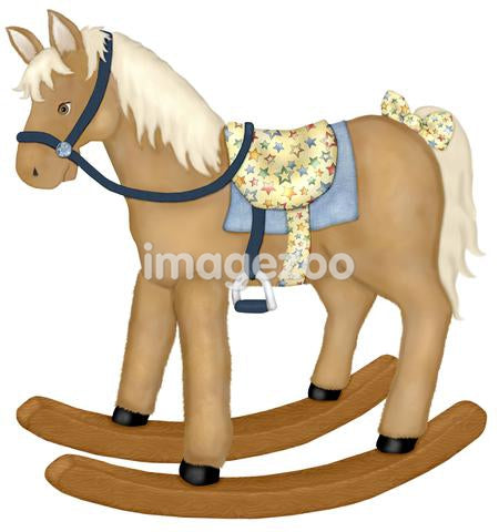 An illustration of a rocking horse