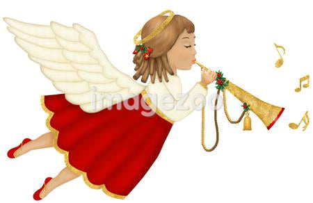 An angel playing music from a trumpet