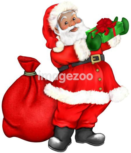 Santa Claus bearing gifts for children at Christmas time