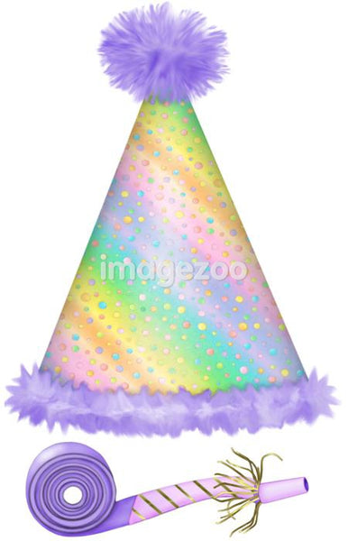A picture of a party hat and blower