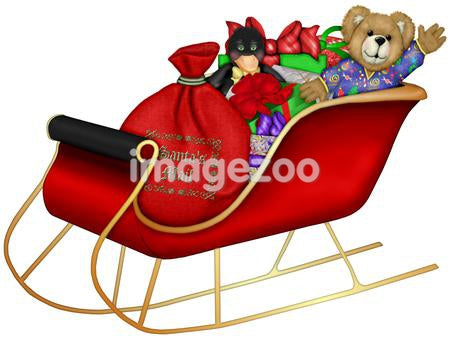 Santa's sleigh full of gifts for children during the holiday season