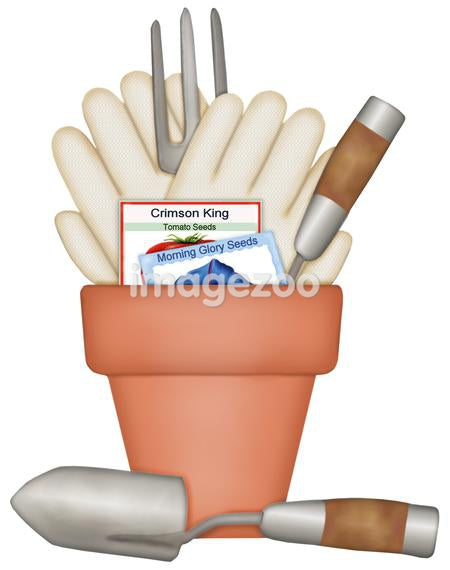 Garden tools placed into a flower pot