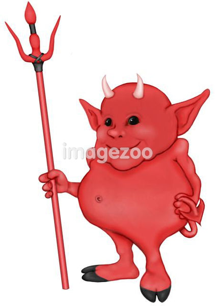 A cartoon type illustration of a little devil with a pitch fork