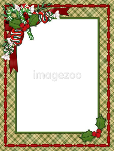 a Christmas border with candy canes, candy, bows and holly