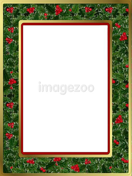 a Christmas border with holly