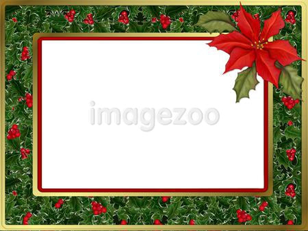 A Christmas themed border with poinsettia
