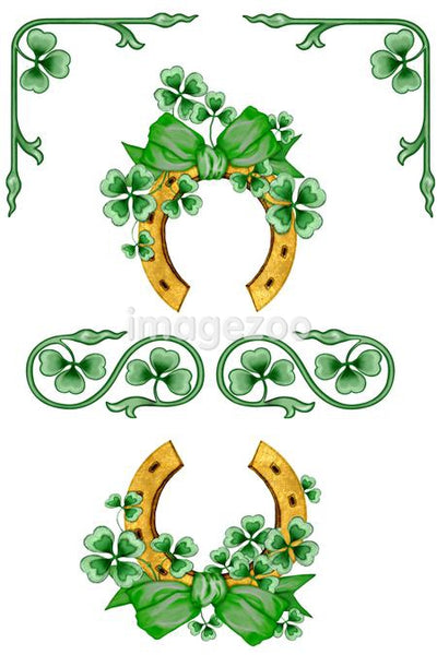 An Irish-themed illustration with horseshoes and four leaf clovers