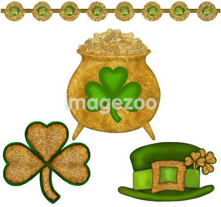 A pot of gold, three leaf clovers, and a green leprechaun hat