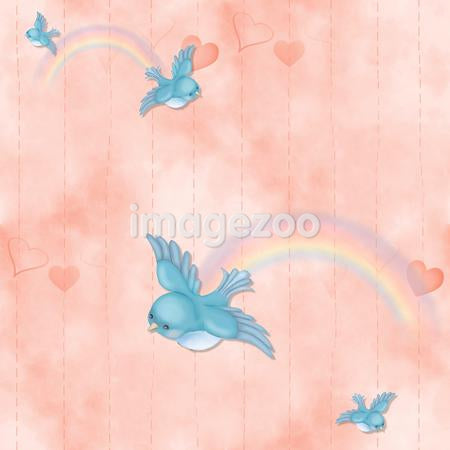 A seamless tile of blue birds and rainbows