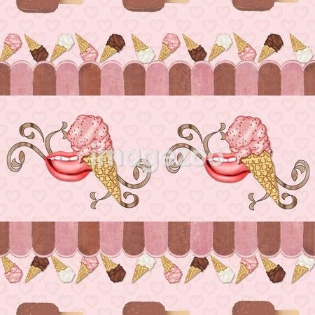 A seamless tile of a mouth licking ice cream