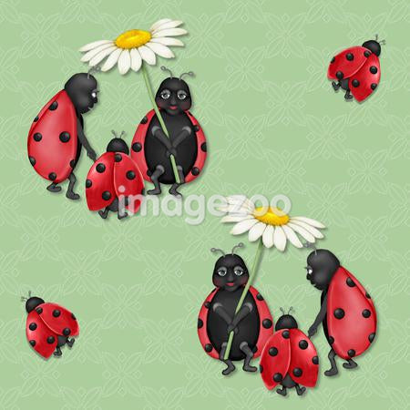 A seamless tile of a family of ladybugs