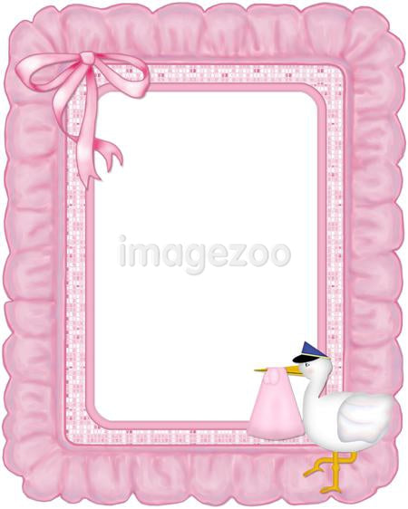 Pink ruffled frame with a stork on it