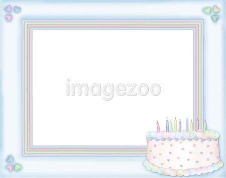 A blue frame with a birthday cake