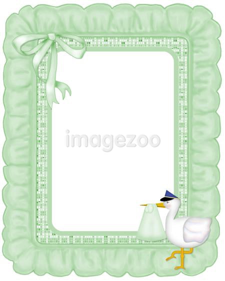 A green ruffled frame with a stork
