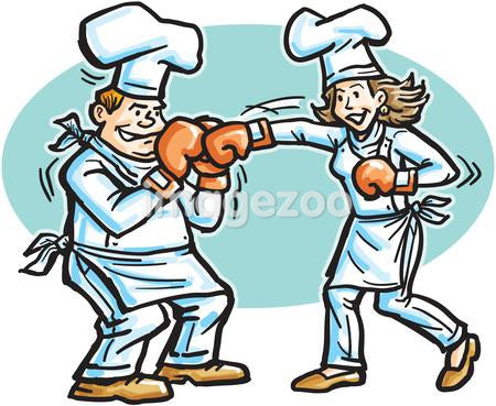 Two chefs boxing