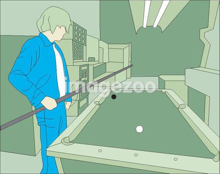A man playing billiards alone
