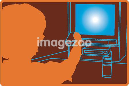 A person using a remote control to switch the television on