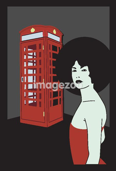 A girl spotting an Afro hairstyle near British phone booth