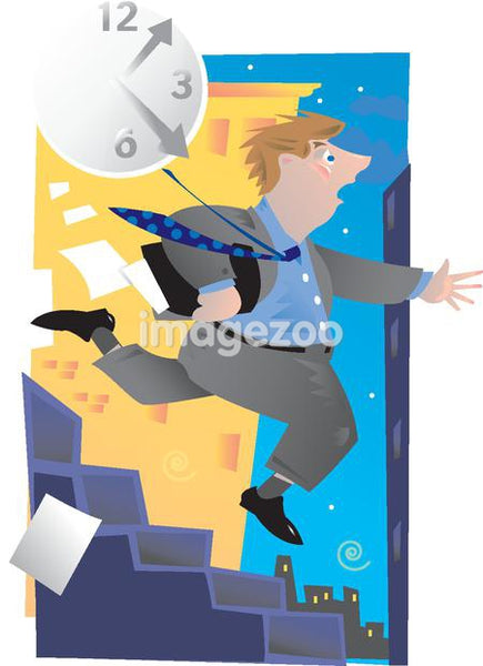 A businessman running down stairs in a hurry