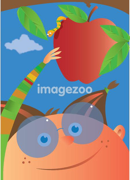A child picking an apple with a worm on it