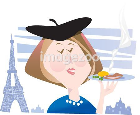 A woman in Paris holding a plate of food