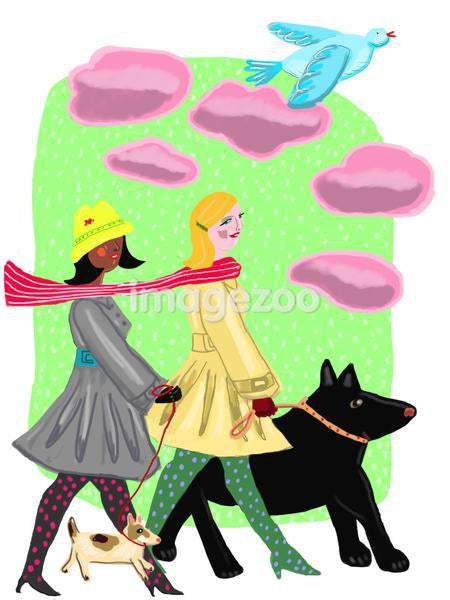 Two women walking their dogs on a cold day