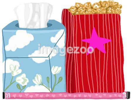 A box of tissues, popcorn and a pink DVD with hearts