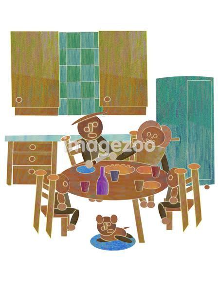 A family eating dinner together