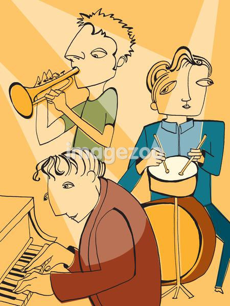 A musical trio playing instruments