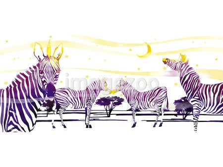 An ink drawing of a zeal of Zebras