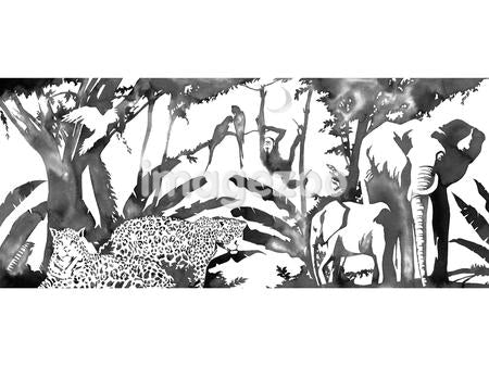 A black and white ink drawing of a jungle scene