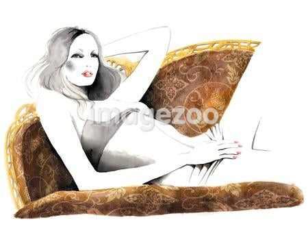 An ink drawing of a woman laying on a sofa