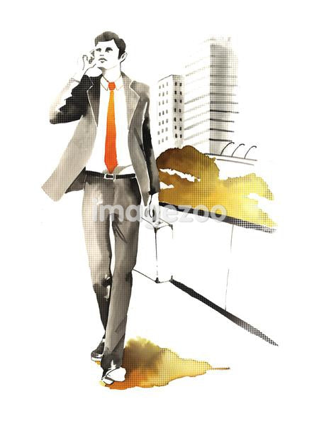 An illustration of a businessman walking through a park talking on his phone