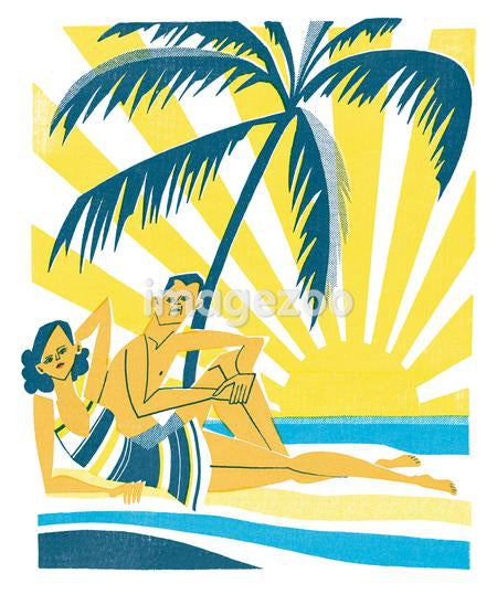 A print of a couple on a beach