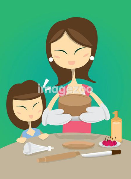 A mother and daughter making a cake