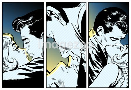 A retro comic strip illustration of three couples kissing