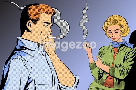 A retro comic style illustration of a couple smoking